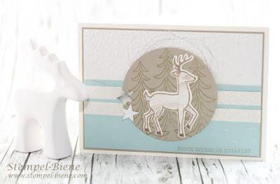 Stampin'Up Weihnachtsworkshop; Weihnachtsarte Stampinup;stampinupweihnachtsschlitten; Karte mit Rentiere; Prägeform Schneeflocken; Stempel-biene; Matchthesketch