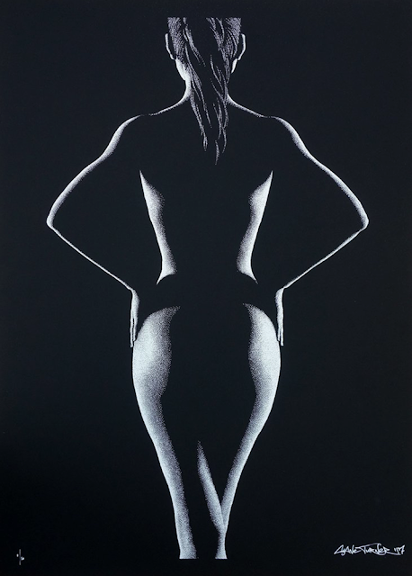 Shane Turner. Drawing of a nude model from behind with hands on waist in chiaroscuro style. Light Dark study of female nude.