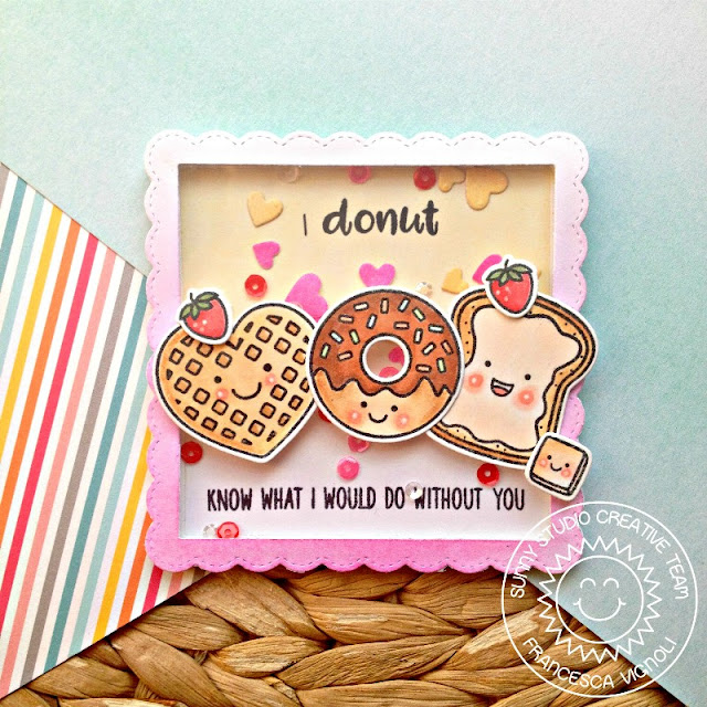 Breakfast Puns I Donut Know What I Would Do Without You Heart Shaker Card by Franci Vignoli