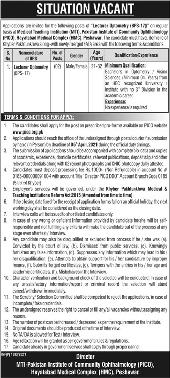 Pakistan Institute of Community Ophthalmology PICO Jobs 2021