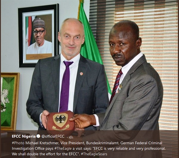 """EFCC is very reliable and very professional"", as Magu recieves Award from German Fedral Criminal Investigation (photo)"