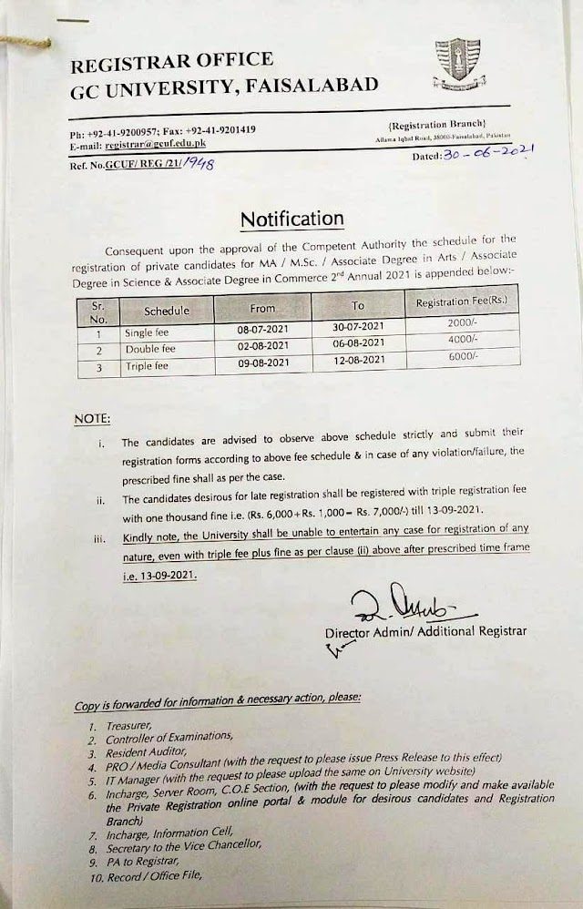 FEE SCHEDULE 2021 FOR MASTER DEGREES IN GC UNIVERSITY FAISALABAD