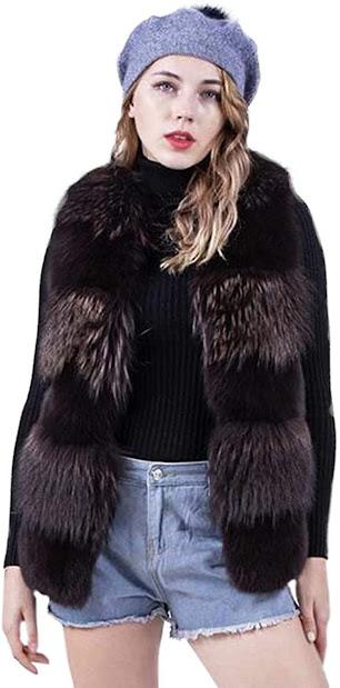 Luxury Genuine Real Fox Fur Vests for Women