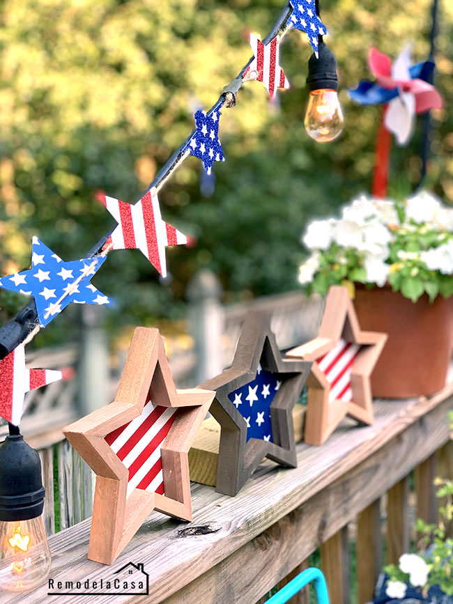 Red, white and blue decorations