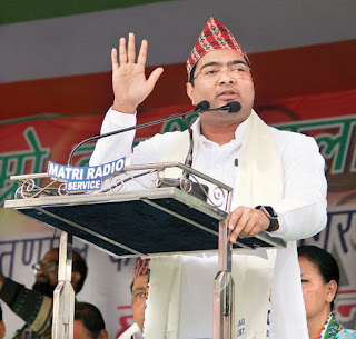 Abhishek Banerjee addresses the Trinamul rally in Darjeeling
