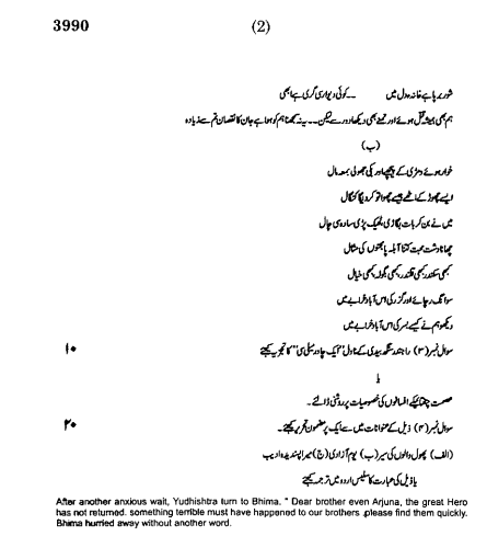 Urdu Language Higher 3990 University of Delhi BA Hons 2013 Exam