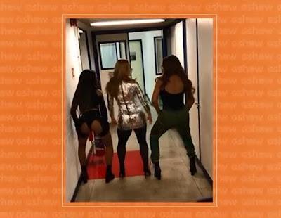 Paolla, Ludmilla e Brunna rebolam ao som do mais recente lançamento de Lud nos bastidores do 'Caldeirão de Ouro' — Foto: Gshow