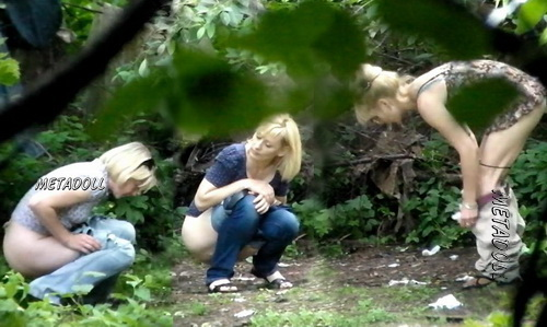 Hiding Place WC 15 (Girls takes a piss squatting near the bushes in this voyeur video)