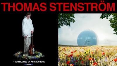 Aristbild på Thomas Stenström i komposition med bild på Avicii Arena.