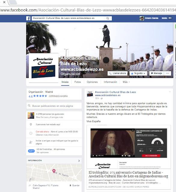 """Mención a mi artículo: """"275 aniversario Cartagena de Indias - Asociación Cultural Blas de Lezo en migranodearena.org"""" en la página de Facebook de la Asociación Cultural Blas de Lezo - Blas de Lezo - Cumbre Iberoamericana - el troblogdita - ÁlvaroGP"""