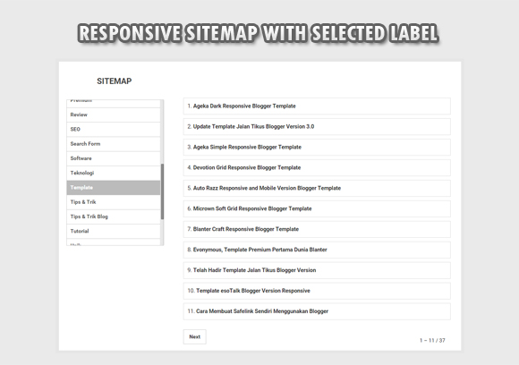 Responsive Sitemap With Selected Label