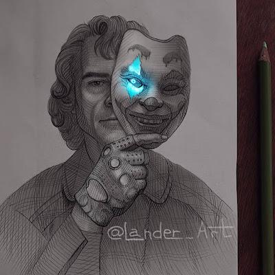 رسم شخصية جوكر (خواكين فينيكس) بقلم الرصاص