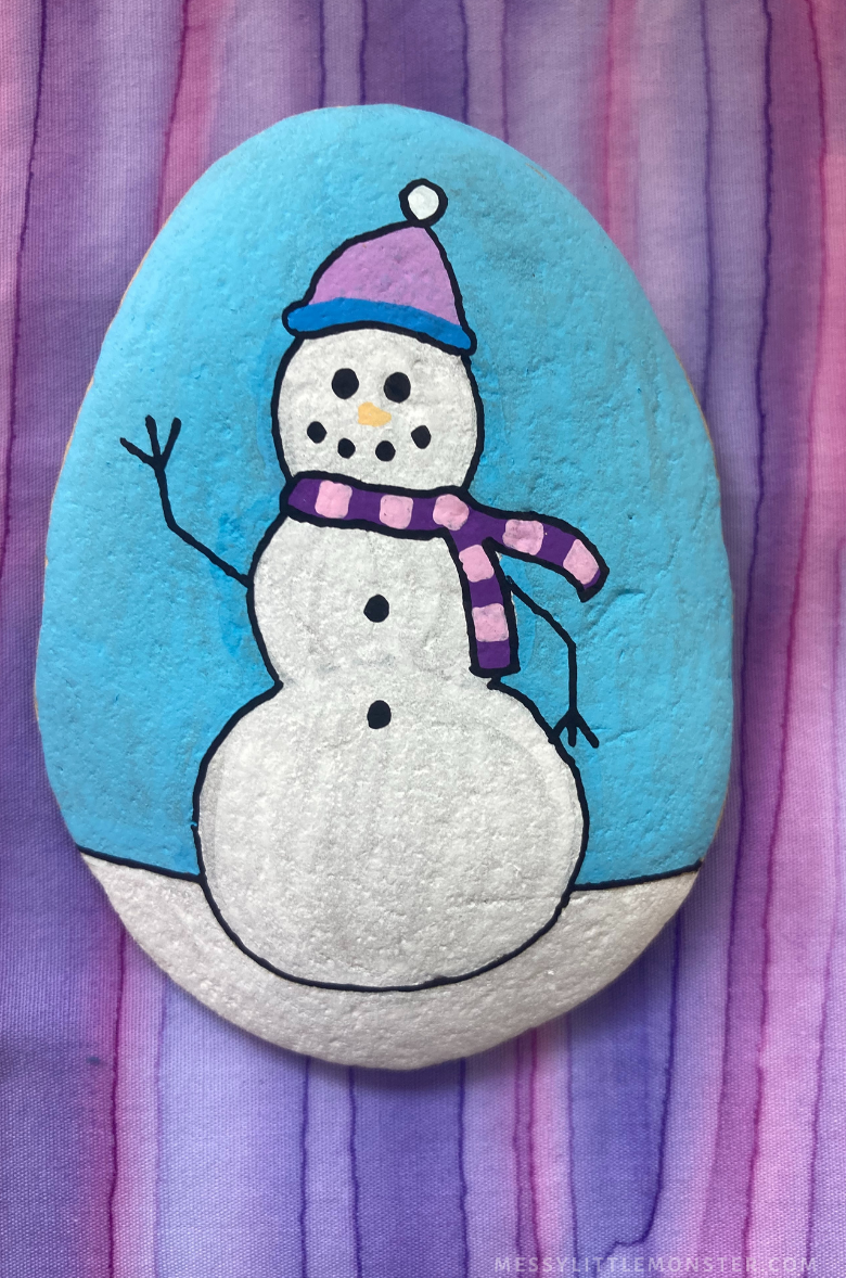 Winter rock painting - snowman craft