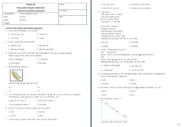 Soal PTS Kelas 2 SD/MI: Tema 5 Subtema 3-4