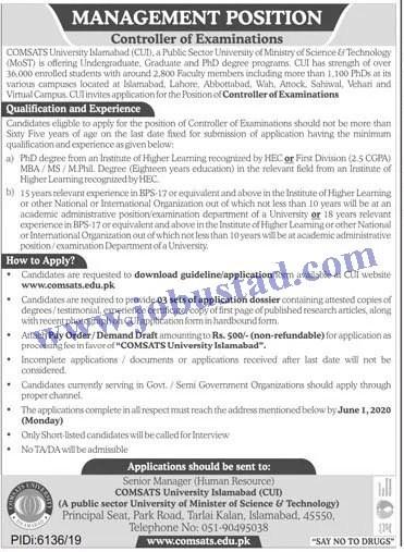 Jobs in Comsats University Islamabad CUI 2020