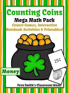 St. Patrick's Day Math Center Games & Printables Money Counting Coins