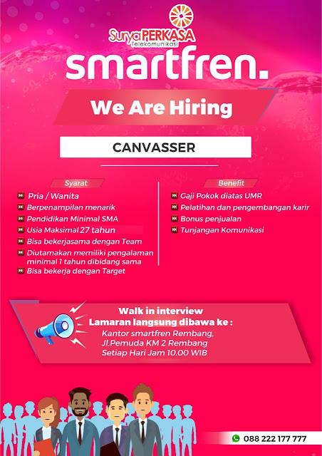 Lowongan Kerja Canvasser Smartfren Rembang Langsung Wawancara