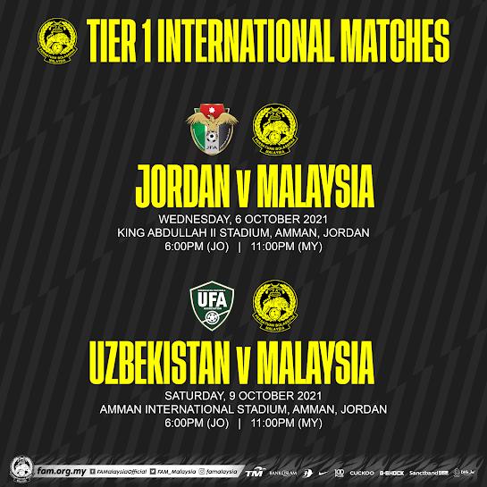 FAM Pilih Jordan dan Uzbekistan Untuk Aksi Antarabangsa Harimau Malaya