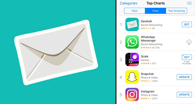 Sarahah - top of the Apple app store