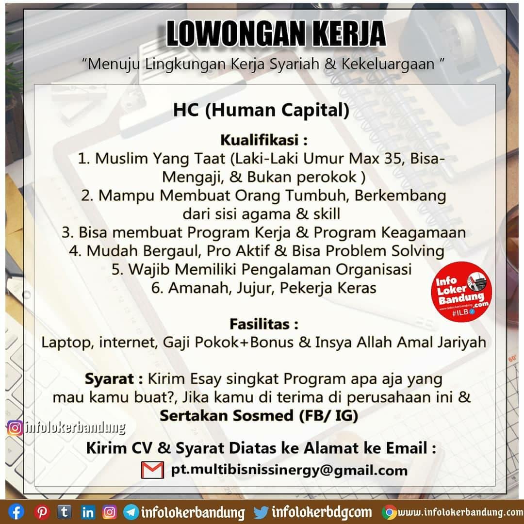 Lowongan Kerja PT. Multi Bisnis Sinergy Bandung Januari 2021