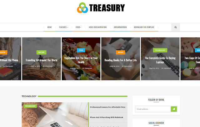 Treasury Responsive Magazine News Sites Blogger Template Theme