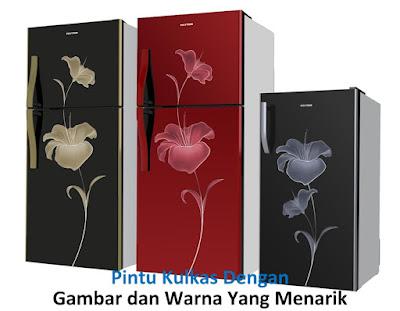 pintu kulkas gambar bunga dengan warna yang menarik dan elegan