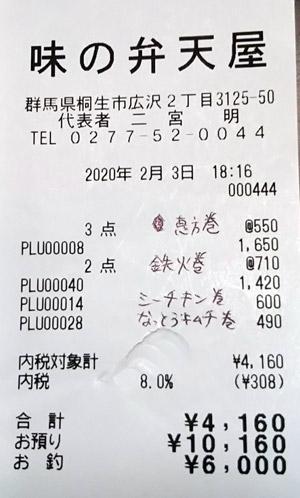 味の弁天屋 2020/2/3 のレシート