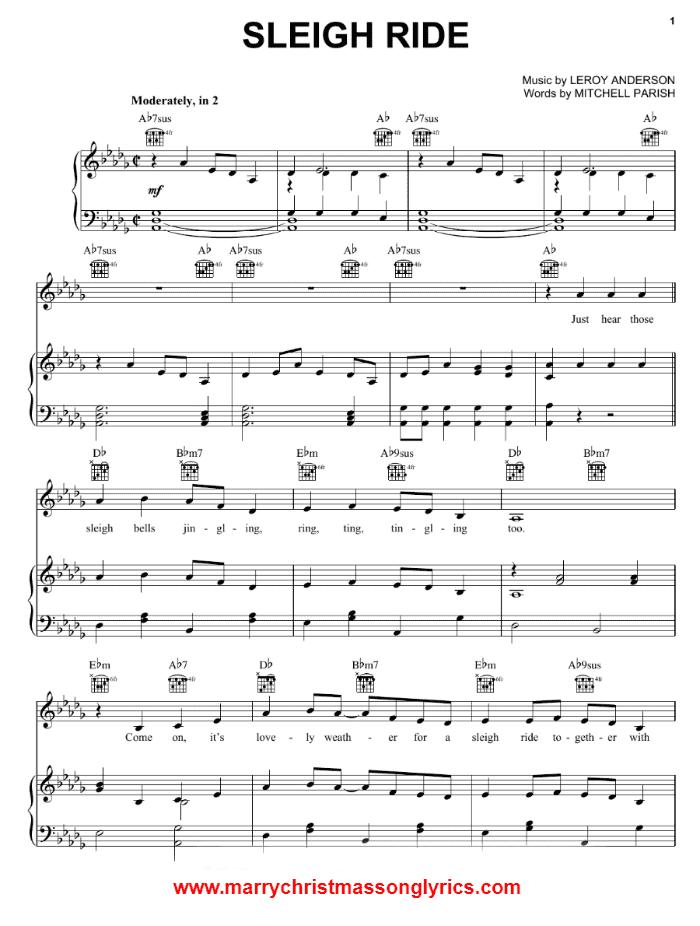 Sleigh Ride Song Sheet Music