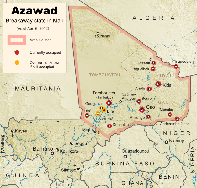 Map of the new independent state of Azawad, declared by MNLA Tuareg rebels in northern Mali. Shows claimed territory and towns controlled by the rebels group as of April 6, 2012