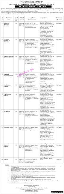Cabinet Secretariat Jobs 2021 – Poverty Alleviation & Social Safety PASS Jobs