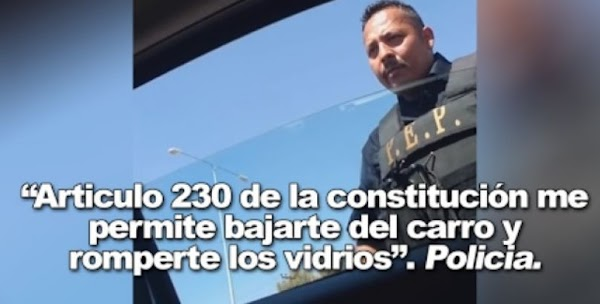 """""""Artículo 230 de la constitución me permite bajarte del carro y romperte los vidrios"""": Policía de México"""