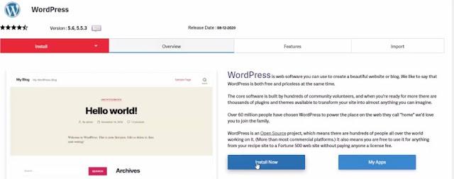 click on install wordpress now