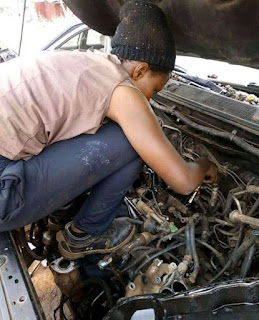 WHAT A MAN CAN DO A WOMAN CAN DO BETTER, MEET A FEMALE PROFESSIONAL MECHANIC, SEE PHOTOS