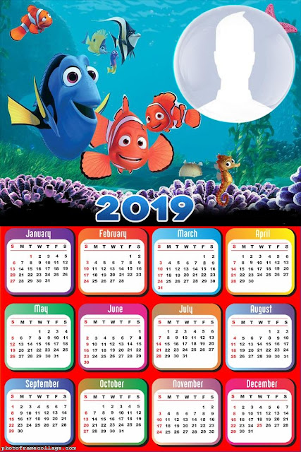 Nemo and Dory 2019 Free Printable Calendar.