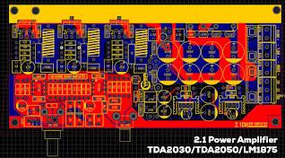 Gerber Files TDA2030 TDA2050 LM1875 2.1 Power Amplifier Stereo + Subwoofer