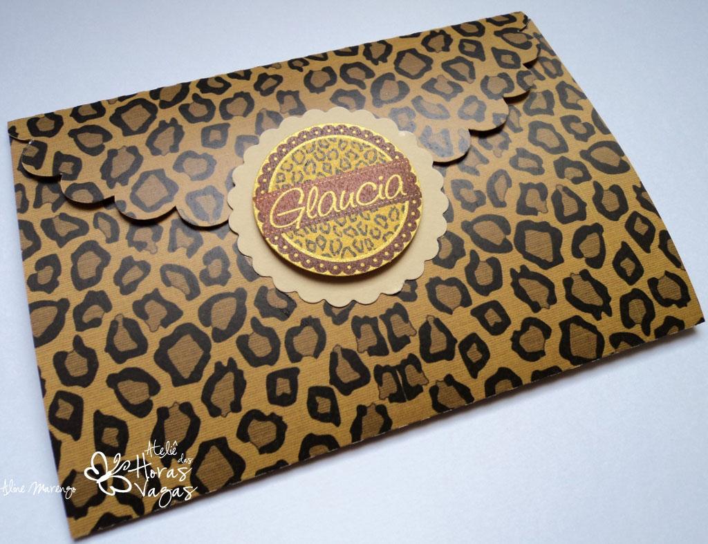 convite artesanal aniversário 40 anos adulto safari oncinha envelope mulher