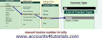 how to change sales invoice serial number in tally