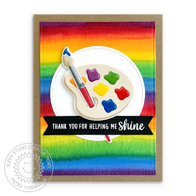 "Sunny Studio: ""Thank You For Helping Me Shine"" Rainbow Paint Brush & Palette Card (using Color My World Stamps, Teacher Appreciation Stamps, Stitched Rectangle Dies & Stitched Circle Dies)"