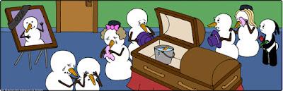 Winter Comic - Schneemänner bei Beerdigung lustig