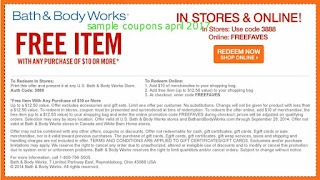 free Bath And Body Works coupons april 2017