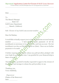 request letter for gold loan closing