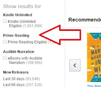 Find Prime Reading Eligible items in the left margin of the Kindle Store.