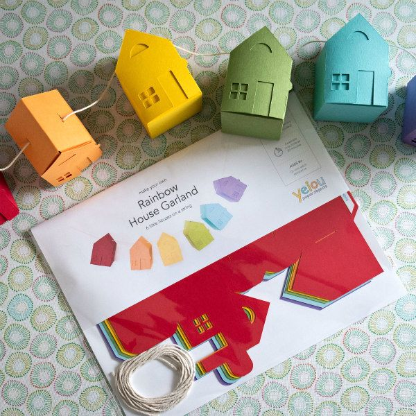 tiny paper house garland kit in assorted colors