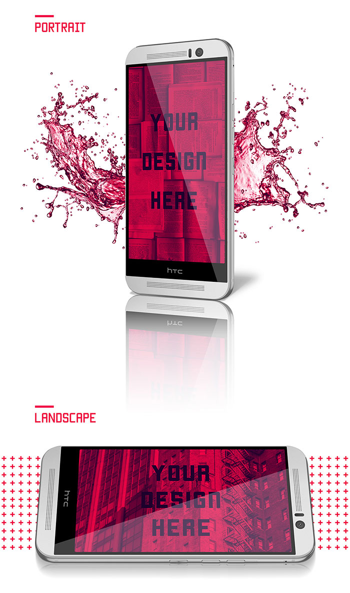 Free HTC One M9 Mockup PSD Templates