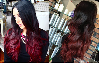 Dark Brown to Red Hair Color - Two Tone Hair Color Ideas For Long Hair Best Combinations