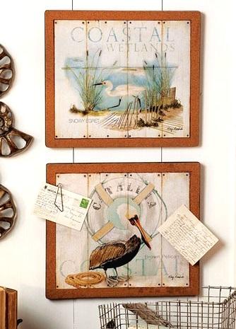 coastal beach memo board with art