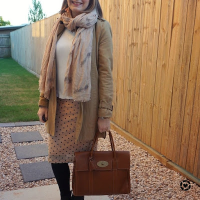 awayfromtheblue camel trench white knit, blush polka dot pencil skirt mulberry bayswater winter office outfit