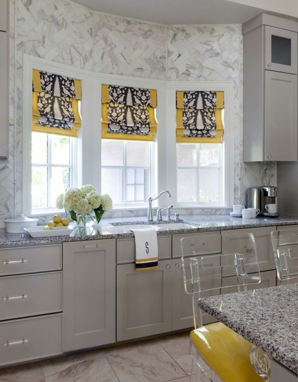 Yellow And Gray Roman Shades
