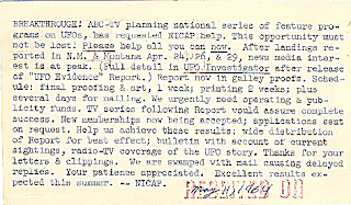 NICAP Postcard Re Socorro (1964)