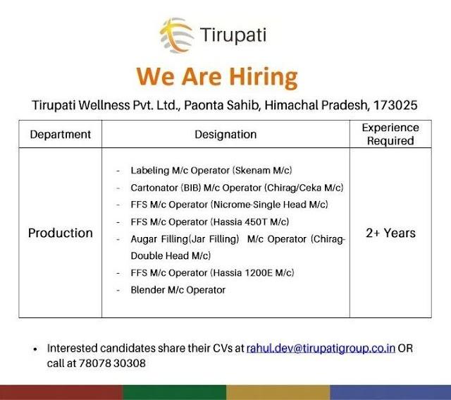 Tirupati Pharma | Hiring experienced candidates for Production | Send CV